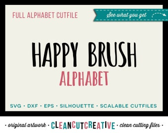 Full Alphabet SVG Fonts Cutfile - Fun Happy Brush cricut font - Studio3 DXF EPS Silhouette Cameo- commercial use clean cutting digital files