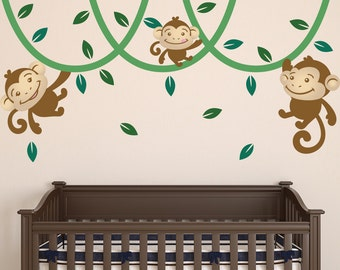 Monkey Kids Wall Stickers, Jungle Nursery Wall Decals, Monkey Kids Wall  Art, Monkey Vine Kids Wall Decals, Monkey Wall Stickers For Kids