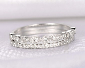 Diamond Wedding Ring Set Anniversary Ring Full eternity Art Deco Antique 14k White Gold Marquise Eternity Band Personalized for her/him