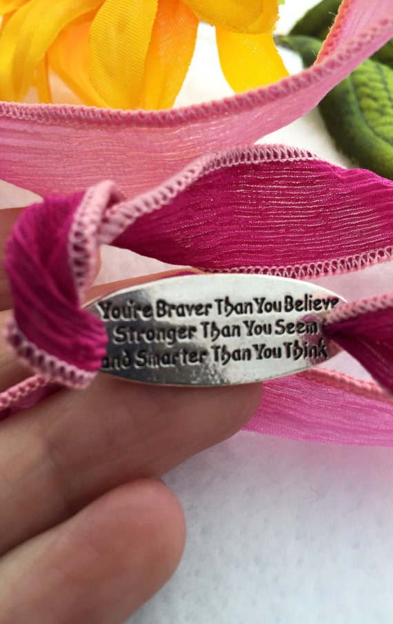 Be Brave Strong Silk Ribbon Wrap, Gifts for Daughter Mom, CrossFit Fitness Team Gifts, Inspirational Charm Bracelet, Inspirational Jewelry
