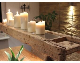 Lampe/Dekokombination aus altem Bauholz
