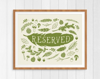 reserved table sign printable, reserved chair sign, reserved place card, woodland wedding, rustic wedding, wedding decor, reception decor