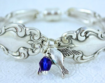 Vintage Silver Spoon Bracelet. Gifts for her. Bridesmaids gifts. Handmade Silver Bracelet with Bird Charm and Blue Crystal Bead.