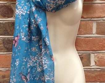 Delicate Blue Bird Scarf, Other Colours Available