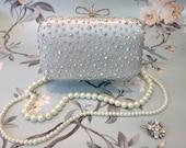 Silver Diamante Bow Clasp Clutch Bag Evening Purse Handbag   Dust Bag