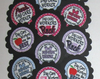 Day Care Worker Cupcake Toppers/Party Picks  (15pc Set) Item #964