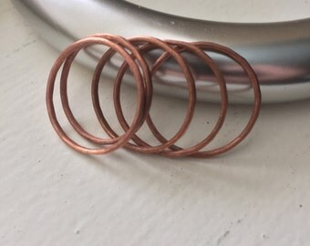 Hammered Copper Stacking Rings, Set of 5
