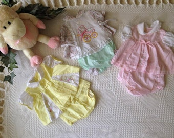 Vintage Newborn Girl's Dresses  0-3 mos. pink, yellow, white/green