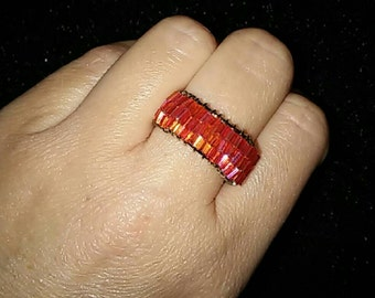 Two tier adjustable BEADED Salmon Ring
