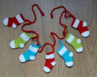 Christmas socks crochet garland Christmas garland Christmas decoration christmas gift holiday garland knitted bunting xmas fireplace decor