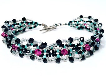 Intricate Fuchsia & Black Beaded Bracelet