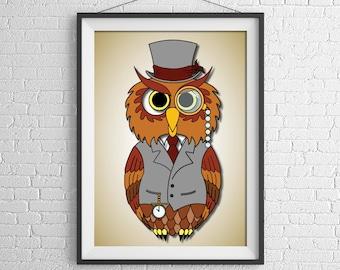 Owl Illustration Poster