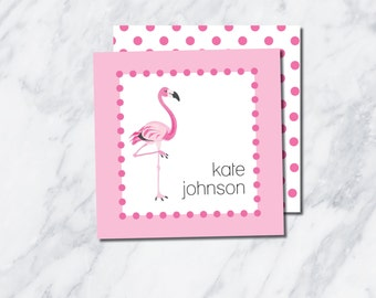 Instant Download! Editable 3in x 3in Flamingo Gift Tags // Watercolor Flamingo Calling Cards // Customizable Pink Tag // Girl Calling Card