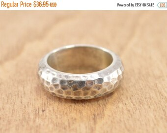 1 Day Sale Hammered Band Ring Size 7 Sterling Silver 11.3g Vintage Estate