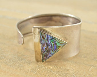 Artisan Style Triangle Abalone Inlay Cuff Bracelet Sterling Silver 30.2g Vintage Estate