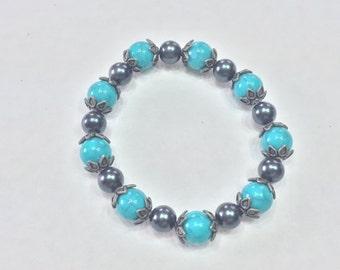 Glass Turquoise and Hematite Beaded Bracelet