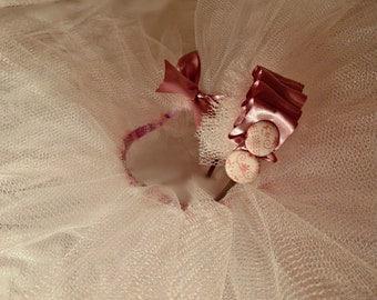 Light Pink/Champagne Tutu with Matching Headband