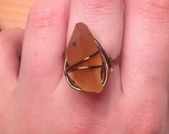 Rough Tangerine Stone Ring