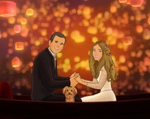 Tangled Lanterns inspired scene from your photos, Couple portrait, Tangled scene, Custom Disney portrait, Tangled movie print