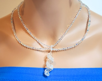 Swarovski Crystal Two-Strand Sterling Silver Beaded Necklace with Twisted Spiral Pendant