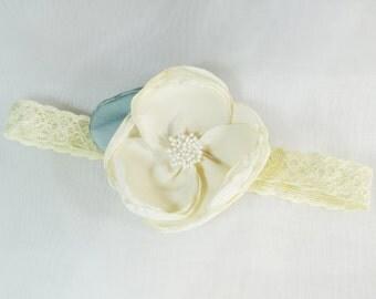 Baby flower headband, Flower girl headband, White flower headband, Baby girl headband, Chiffon flower headband