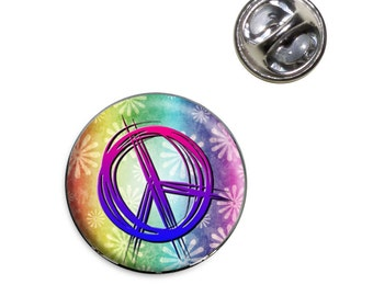 Hippie Peace Signs and Flowers Lapel Hat Tie Pin Tack