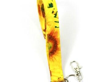 SUNFLOWER Fabric Lanyard, Fabric Badge Holder, Sunflower lanyard, Sunflower badge holder