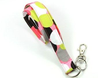 POLKA DOT Fabric Lanyard, Colorful Fabric Badge Holder, Polka dot lanyard