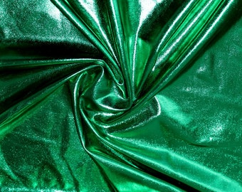 Green 4 way stretch metallic foil spandex