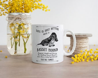 Basset Hound Mug ~ Perfect Gift can be personalised
