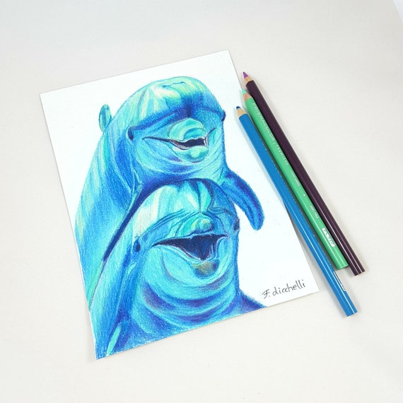 Little illustration depicting two joyous dolphin, colored pencils on paper, baby shower, birth or baptism gift idea, nursery decoration.