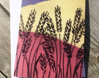 Greetings Card Wheat Fields Collage Pink Yellow Purple Birthday Card Thank You Card