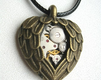 Steampunk jewelry Heart necklace Clockwork Steampunk Industrial Heart Pendant Winged heart Gift Idea Post apocalyptic