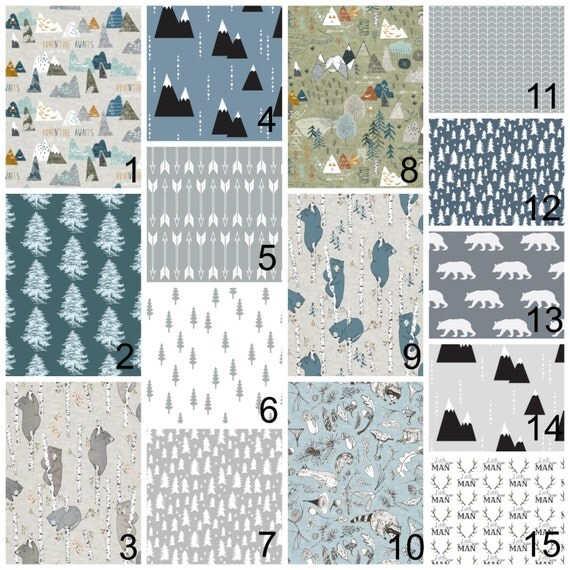Crib bedding grey blue nursery items rustic deer for Mountain crib bedding
