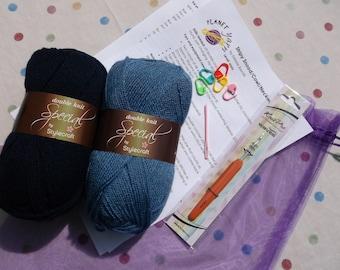 Crochet Kit for Stripy Snood / Cowl / Neckwarmer