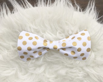 Gold polka dot bow/baby gold bow/infant gold bow/bows/little girl bows/gold bows/polka dot bows/