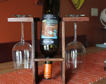Red Mahogany Upright All in One Wine Bottle Rack - Wine Display - Wine Rack for 1 Bottle & 2 Glasses - Hostess Gift - Rustic Wine Stand