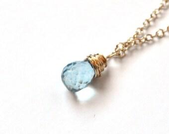 CLOSING SALE Aquamarine Gold Necklace - Faceted Briolette - Gold Necklace – Blue