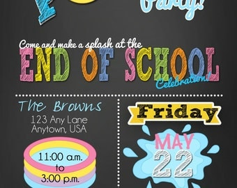 Pool party invitations - summer party invitations - End of the school year bash, pool party Birthday Invitations - Pool Party party invite