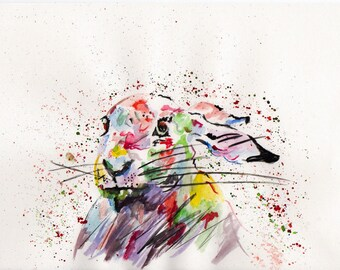 Watercolour rabbit print. Bunny print. Rabbit watercolour. Nursery wall art. Original