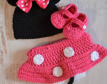 Crochet Newborn Baby Girl Minnie Mouse Diaper Cover Hat Set Costume Photography Prop