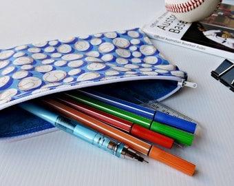 Baseball fabric zip pouch pencil case, blue