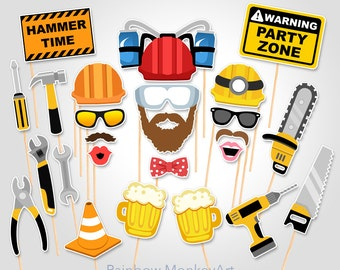 Construction Printable Photo Booth Props - Construction Photo Booth Props - Road Works Photobooth Props - Construction Photo Booth Props