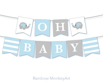 Oh Baby Bunting Flags - Baby Shower Decoration Party Flags - Pennant Flags - Oh Baby Elephant Baby Boy Shower - Team Blue