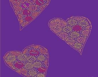 Three Hearts on Purple