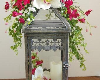 Silk Orchid Glass Lantern Arrangement