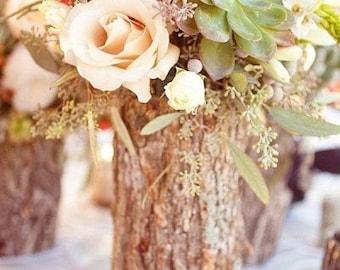 Rustic Tree Stump Vase/Centerpiece