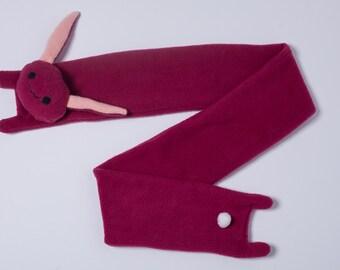 Dark Pink Fleece Bunny Scarf
