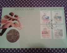 Barcelona Olympic games 1992, Portuguese first day cover stamp and coin set. Olympics souvenir, Portugal, fdc, F.D.C, philately.