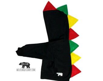 Bob Marley Rasta Kids Dino Hoodie  - Dinosaur Hoodie, Dinosaur Jacket,  Dino Costume ,  Dino Hoodie, Toddler Black Dino Hoodie